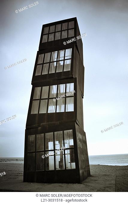 'Estel Ferit' (wounded star) sculpture. Monument designed by Rebecca Horn. Barceloneta beach, Barcelona, Catalonia, Spain