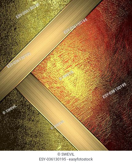 Red gold background with gold corners. Design template. Design site