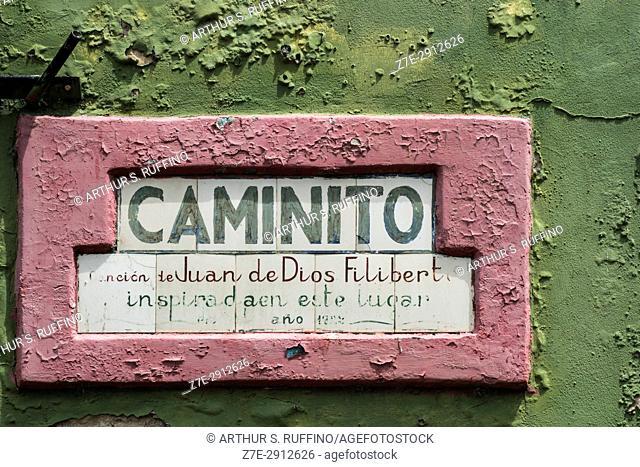 """Plaque containing lyrics to """"""""Caminito"""""""" by Gabino Coria Peñaloza. La Boca, Buenos Aires, Argentina, South America"""