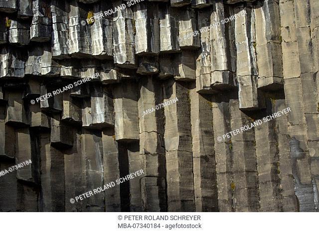 Iceland, Skaftafell National Park, ring road, basalt columns at Svartifoss
