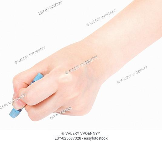 hand draws by blue pastel isolated on white background
