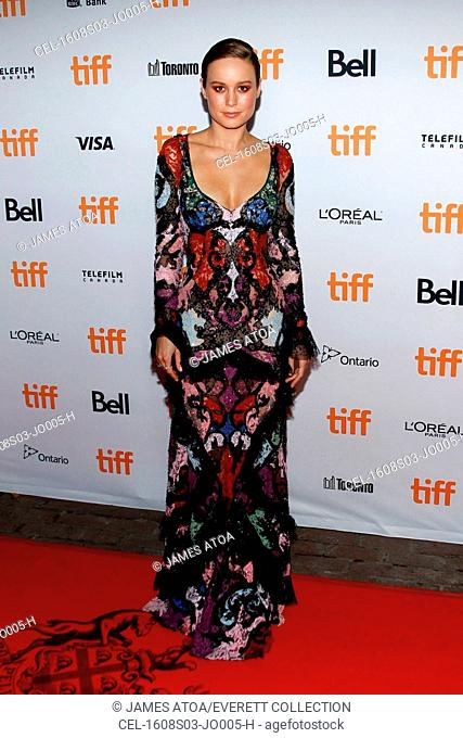 Brie Larson (wearing an Alexander McQueen gown) at arrivals for FREE FIRE Premiere at Toronto International Film Festival 2016, Ryerson Theatre, Toronto
