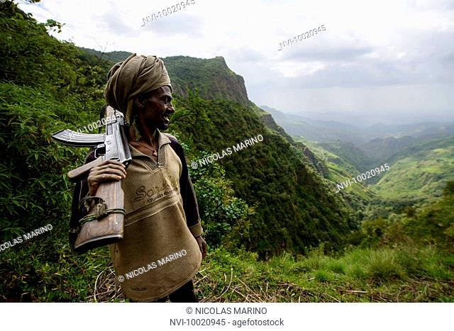 Villagers volunteering to protect their stretch of land from bandit attacks, Simien mountains, Ethiopia