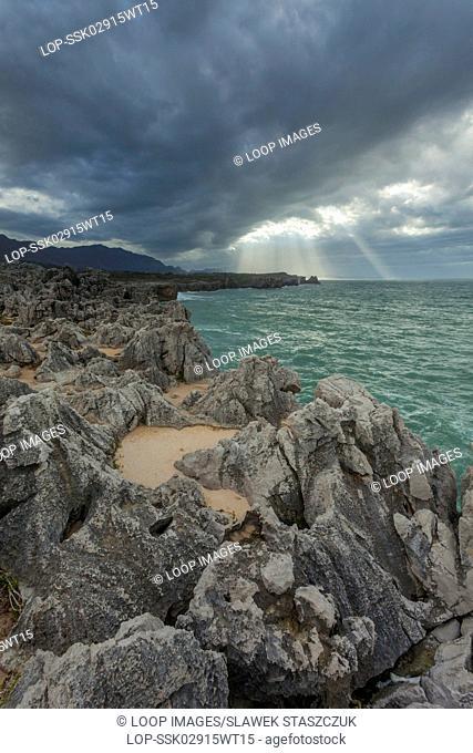 Stormy skies over Punta San Antonio in Asturias