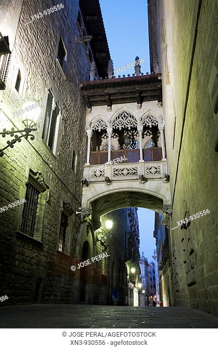 Carrer del Bisbe, Gothic quarter, old town, Barcelona. Catalonia, Spain