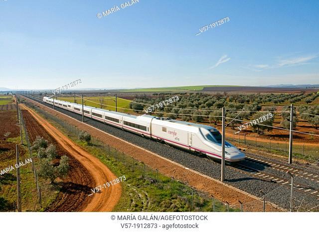 AVE train travelling along La Mancha. Ciudad Real province, Castilla La Mancha, Spain