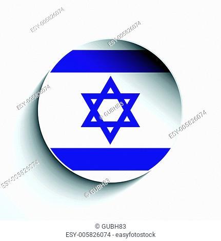 Israel Flag Paper Circle Shadow Button