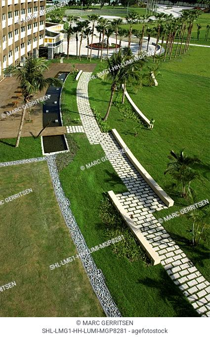 Aerial view of landscaping and pathways