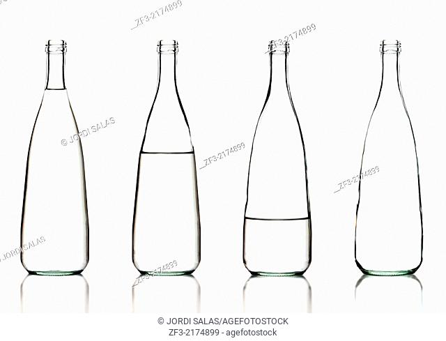 Bottles of water on a white background