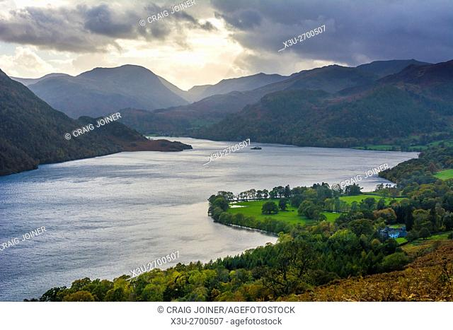 Ullswater and the surrounding fells viewed from Gowbarrow Park in the Lake District National Park, Cumbria, England