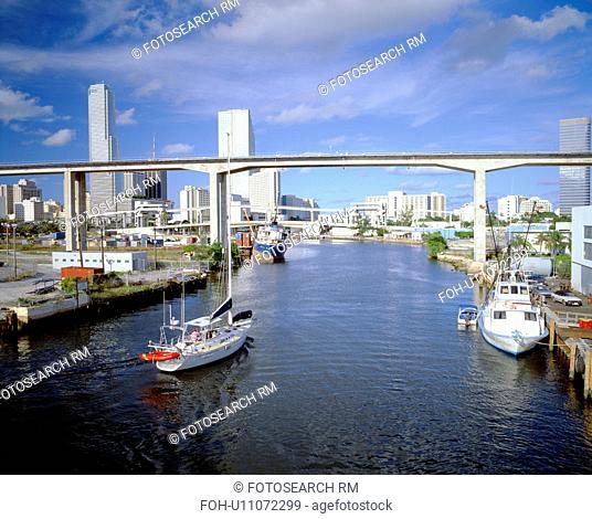Miami Skyline from Bay, Florida