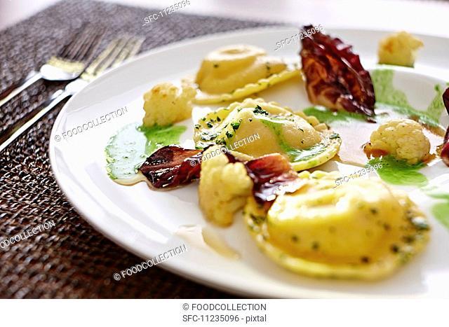 Ravioli with radicchio and cauliflower