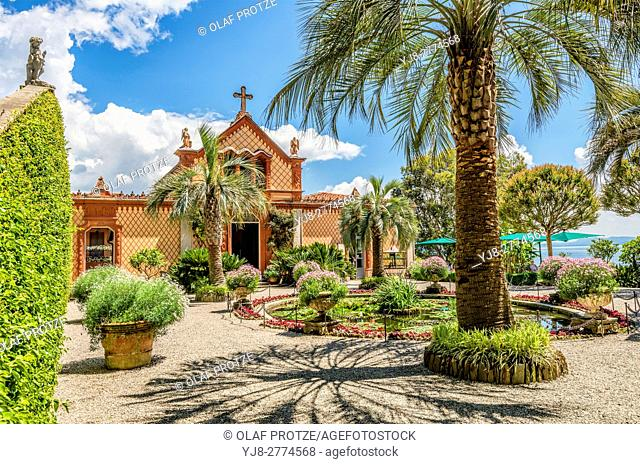 Courtyard and family chapel of Palazzo Madre at Isola Madre, Lago Maggiore, Piedmont, Italy