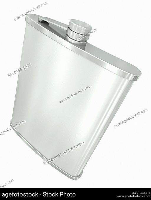 Hip flask isolated on white background. 3D render