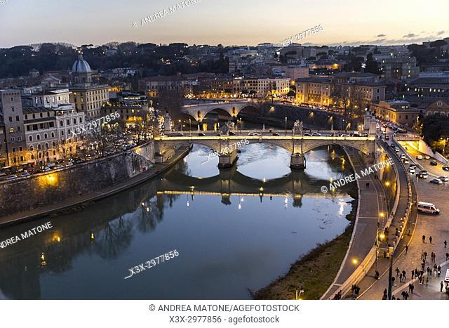 The Tiber river at night. Rome Italy