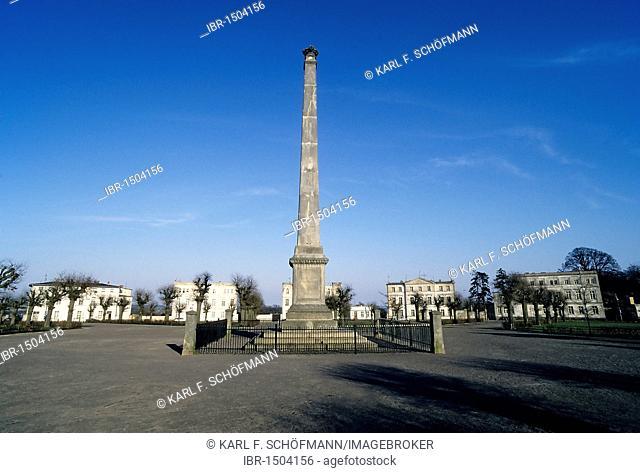 Circus and obelisk, Putbus, Ruegen island, Baltic Sea, Mecklenburg-Western Pomerania, Germany, Europe