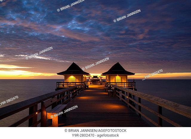Dusk over the pier and Gulf of Mexico from Naples, Florida, USA