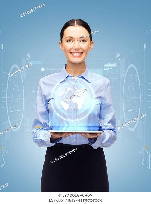 business, technology, internet and education concept - friendly young smiling businesswoman with tablet pc computer and virtual screen