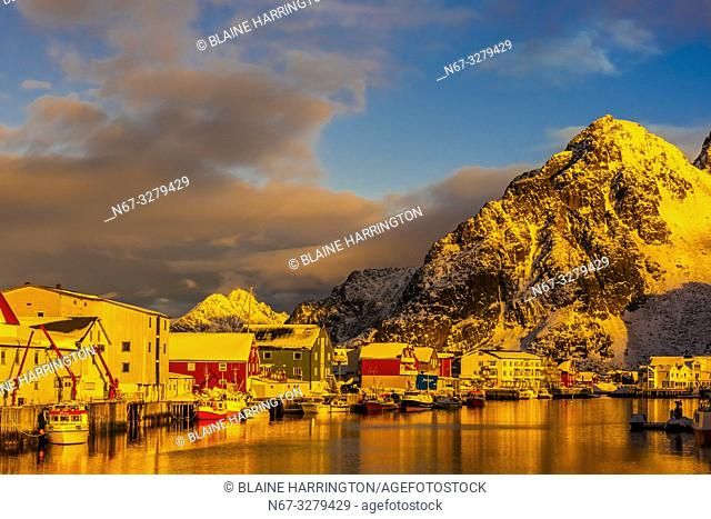 Fishing village of Henningsvaer, near Svolvaer, Lofoten Islands, Arctic, Northern Norway