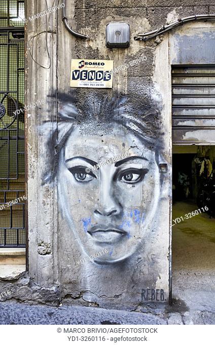 Naples Campania Italy. Street graffiti depicting neapolitan actress Sofia Loren at Quartieri Spagnoli(Spanish Quarters)