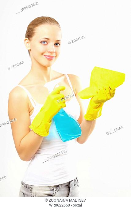 Housework. gray background