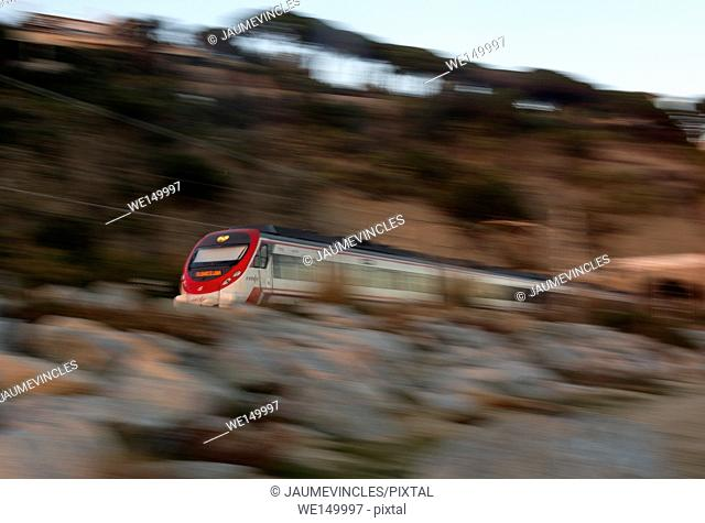 Commuter train traveling from Arenys de Mar to Caldes d'Estrac, Barcelona province, Spain