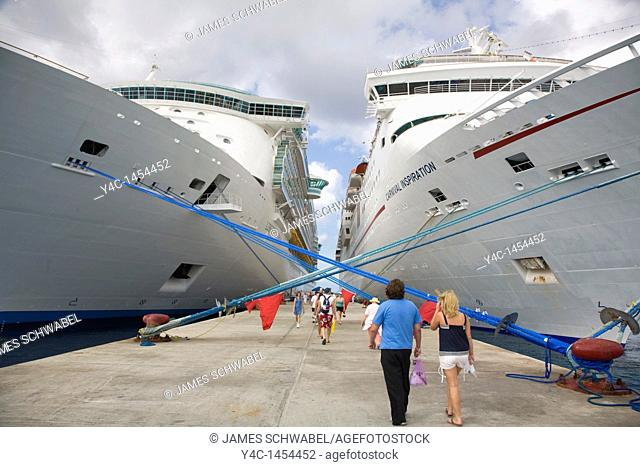 Passengers returning to cruise ships at International Pier in San Miguel on Cozumel Mexico