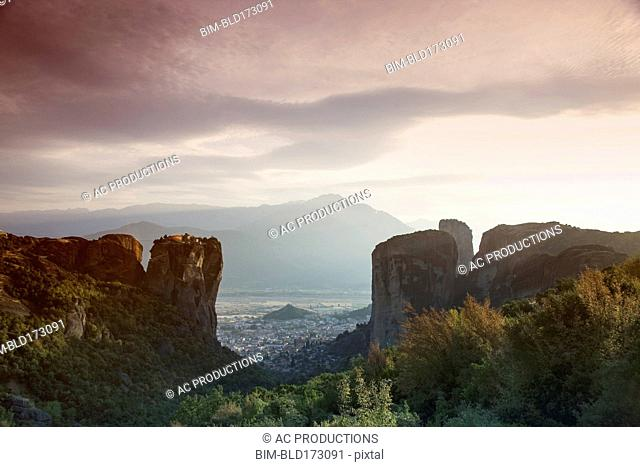 Aerial view of mountains and valley cityscape, Kalamabaka, Greece