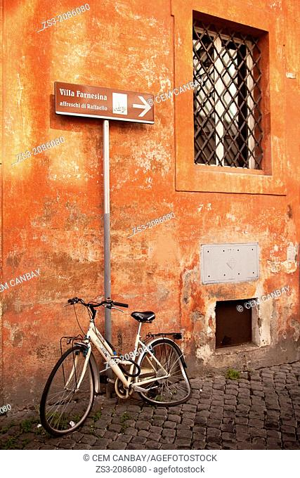 Bicycle at the side of the street, Trastevere district, Rome, Italy, Europe