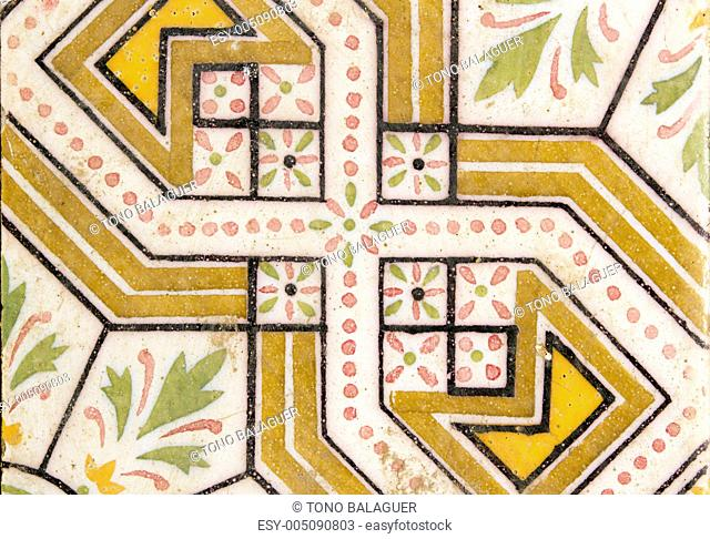 arab traditional creamic floor tile flower design