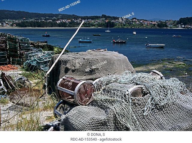 Fishing nets Combarro Rias Baixas Galicia Spain