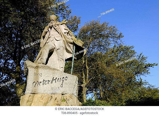 Victor Hugo's statue, St Peter Port, Guernsey, Cannels Islands, UK
