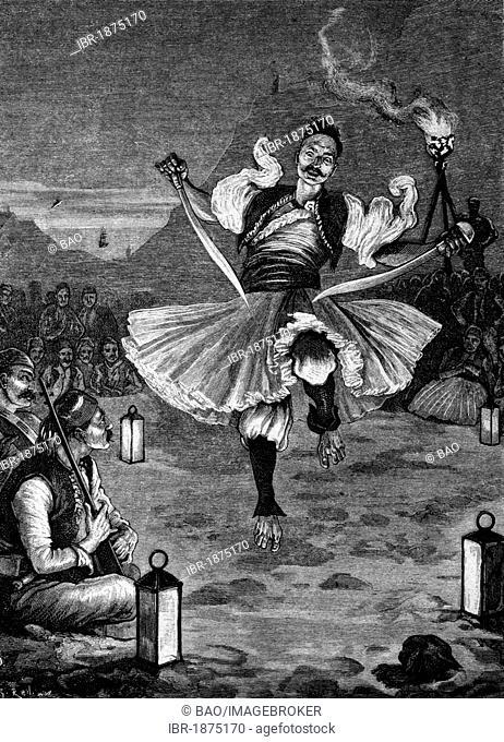 Albanian war dance, historical illustration, circa 1886
