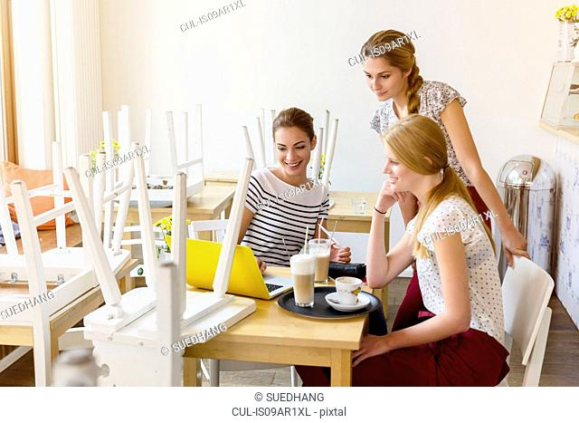Three women using laptop in cafe