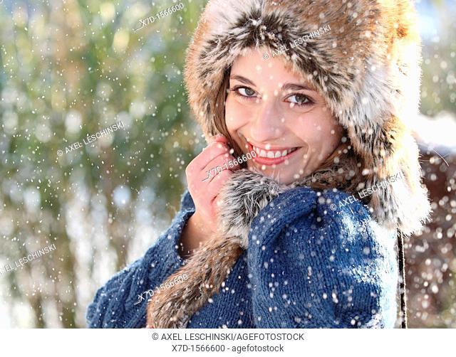 woman snow winter portrait