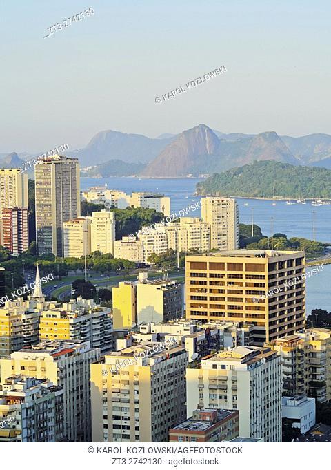 Brazil, City of Rio de Janeiro, Elevated view of the Botafogo and Flamengo Neighbourhoods