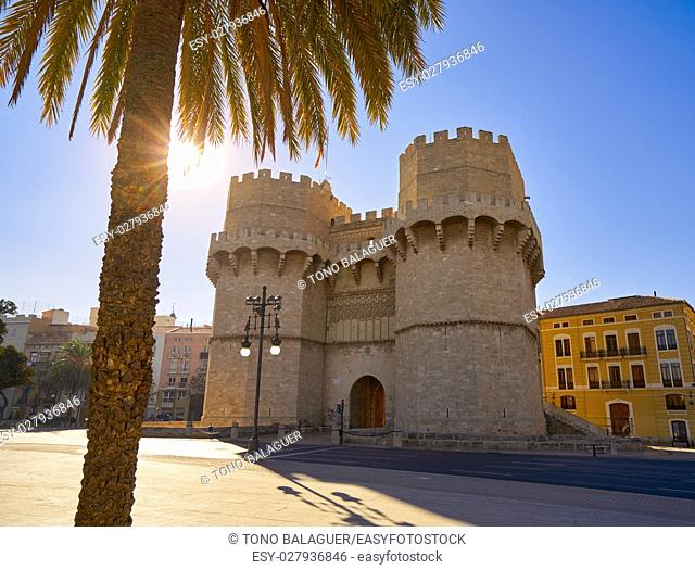 Torres de Serrano towers in Valencia old city door at spain