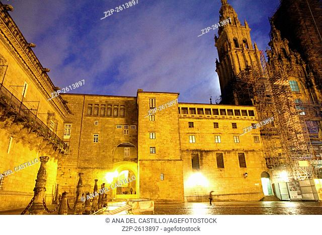 Santiago de Compostela Cathedral evening time. Spain