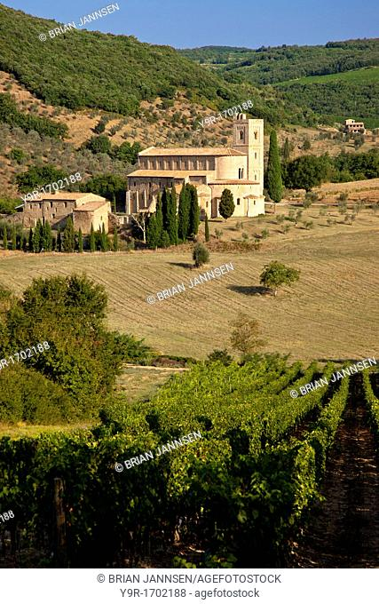 Beautiful Sant Antimo Monastery - founded in 781 AD near Castelnuovo dell'Abate, Tuscany Italy