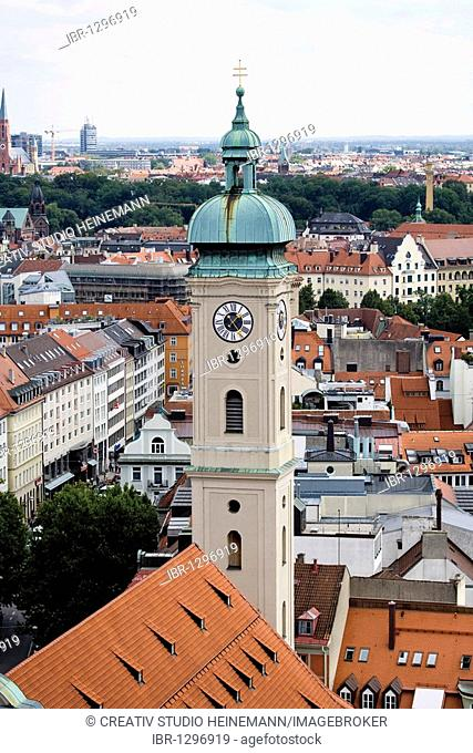 View of Munich and of the tower of the Heilig-Geist-Kirche church from the Alter Peter church, Munich, Bavaria, Germany, Europe