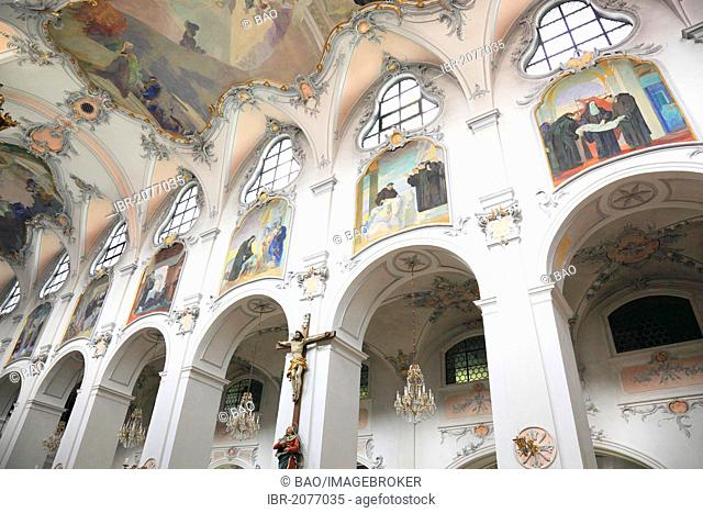 Interior view of the monastery church, Kloster Scheyern monastery, Abbey of the Bavarian Benedictine Congregation, Scheyern, Pfaffenhofen district, Bavaria