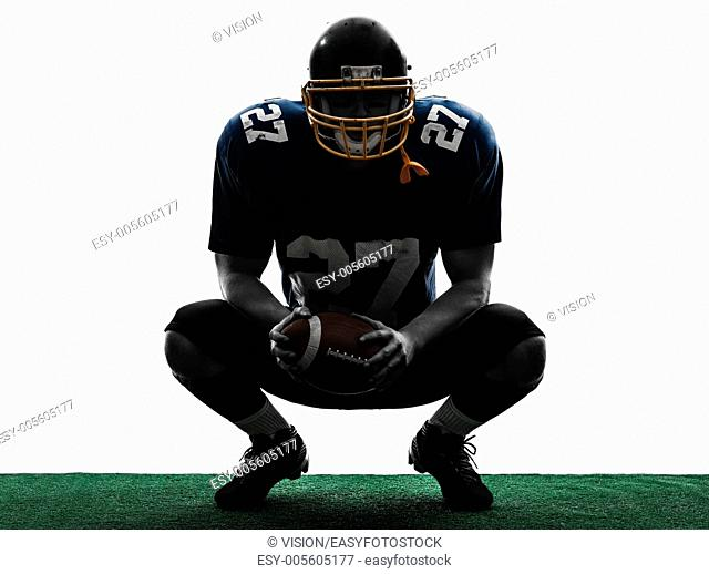 one caucasian american football player man in silhouette studio isolated on white background