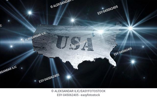 United States Of America Map in Space With Flares and Stars 3D Rendering