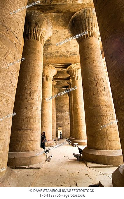 giant columns in the Horus Temple in Upper Egypt