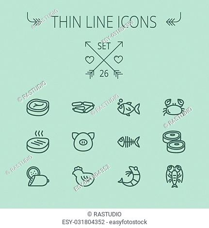 Food and drink thin line icon set for web and mobile. Set includes- steak, sausages, fish, crab, shrimp, lobster icons. Modern minimalistic flat design