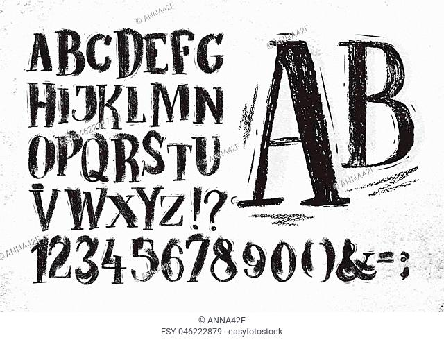 Font pencil vintage hand drawn alphabet drawing in black color on dirty paper background
