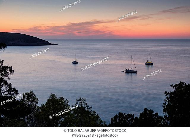 Moored sailboats in front of Cala Xarraca, Ibiza, Balearic Islands, Spain