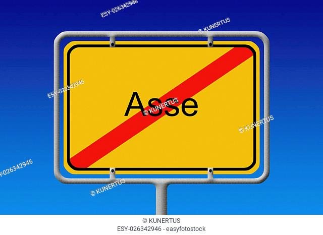 Illustration of a German city sign with the word Asse crossed out (highly controversial abandoned mine used as disposal zone for verry hazardous substance in...