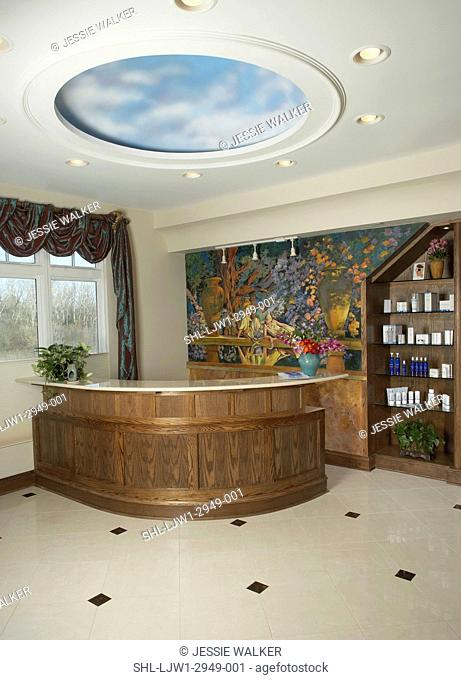 DAY SPA: Front desk area of day spa , circular ceiling disk faux painted clouds, wall mural of Italian garden, taffeta swag drapes