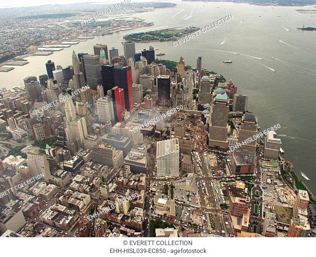 Aerial view of Lower Manhattan and New York Harbor on Sept. 27, 2001. In photo center, the Ground Zero site is still smoldering 15 days after September 11